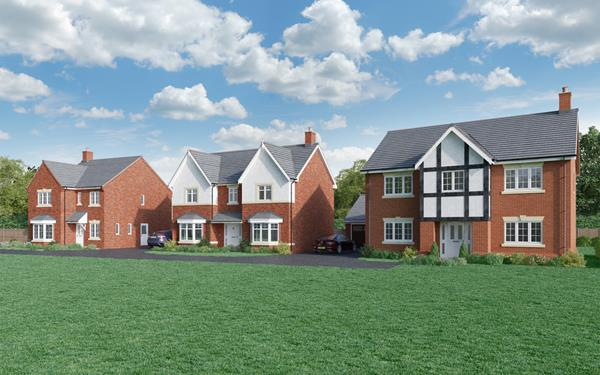 Exterior shot of three large homes at Castle Donnington