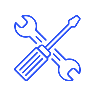 Blue icon of a spanner and screwdriver forming a cross shape