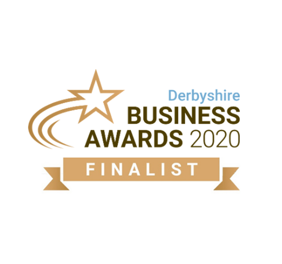 Derbyshire Business Awards 2020 finalist logo on white background