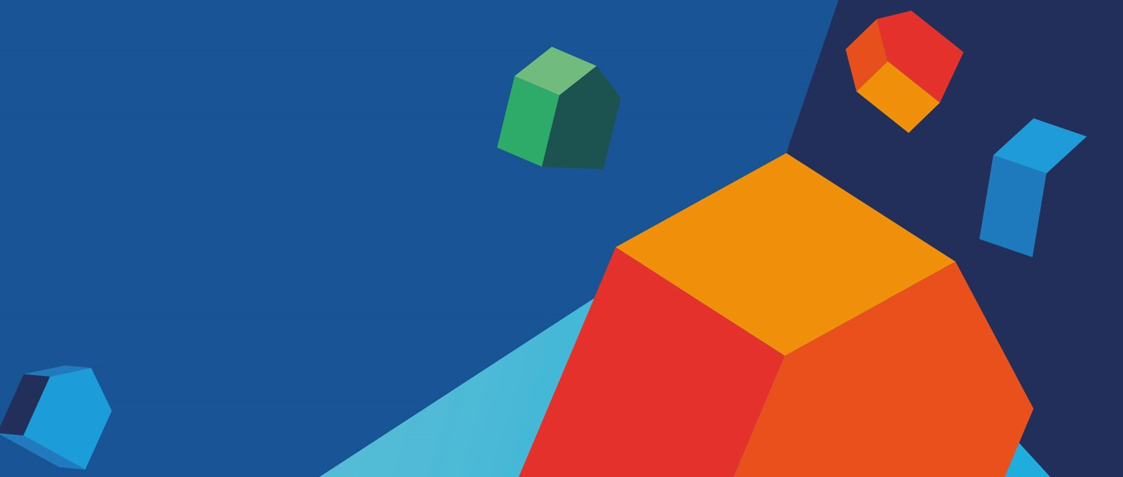 A stack of house-shaped 3D blocks in front of a multicoloured blue background